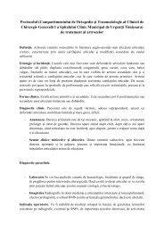 Protocolul artrozelor - Spitalul Clinic Municipal de Urgenta Timisoara