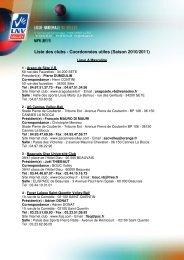 Liste des clubs - Coordonnées utiles (Saison 2010 ... - Extranet FFVB
