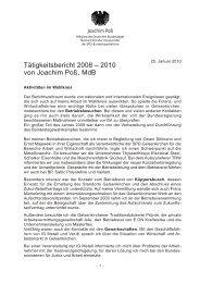 Tätigkeitsbericht 2008 – 2010 von Joachim Poß, MdB