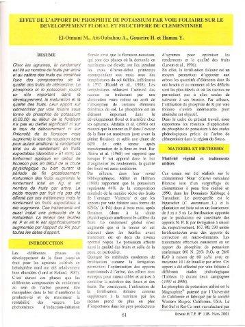 effet de l'apport du phosphite de potassium - anafide