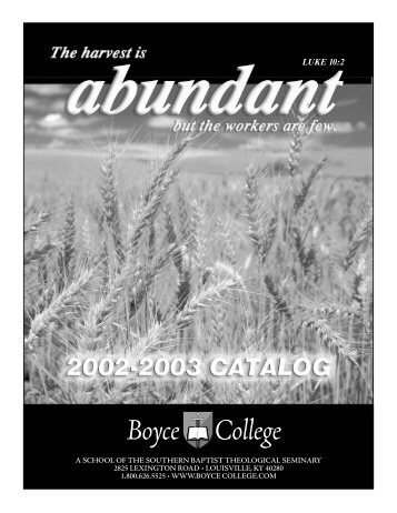 2002-2003 Catalog - Boyce College