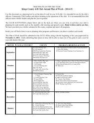 Kings County 4-H Club Annual Plan of Work – 2013-14
