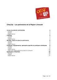 Cheq'Up – Les partenaires de la Région Limousin - (CRIJ) Limousin