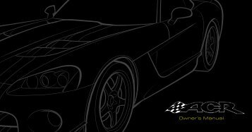 2008 Dodge Viper ACR Owner Guide Supplement