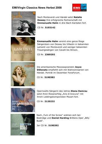 EMI/Virgin Classics News Herbst 2008