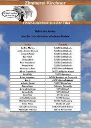 Hallo Liebe Kinder, hier die Liste, der bisher - Zimmerei Kirchner