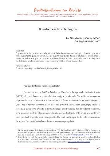 Bourdieu e o fazer teológico - Faculdades EST