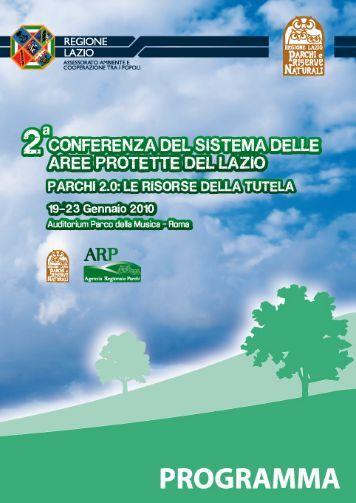 Programma dei lavori - Parchi e Riserve naturali del Lazio