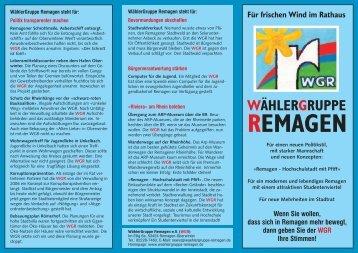 WGR Für frischen Wind im Rathaus - WählerGruppe Remagen eV
