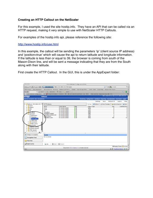 Creating an HTTP Callout on the NetScaler For this example