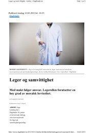Swensen E. Leger og samvittighet. Dagbladet 12.02.2013 - NSDM
