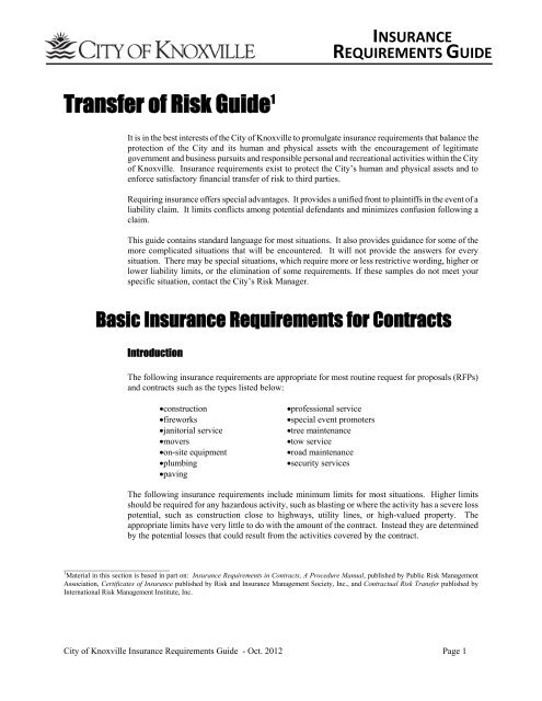 Insurance Requirements Guide - City of Knoxville