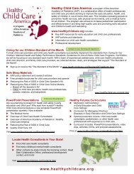 handout - Healthy Child Care America