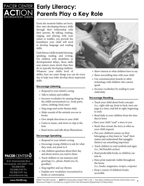 PHP-c134 Early Literacy-Parents Play a Key Role     - PACER Center