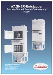 WAGNER-Entstauber Patronenfilter mit Druckluftabreinigung Typ PF