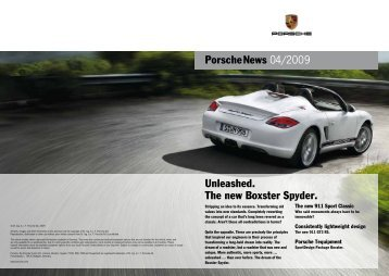 Porschenews 04/2009 Unleashed. The new Boxster Spyder.