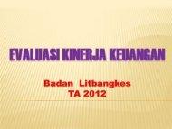 Evaluasi Kinerja Keuangan Balitbangkes TA 2012 (PDF: 3 MB)