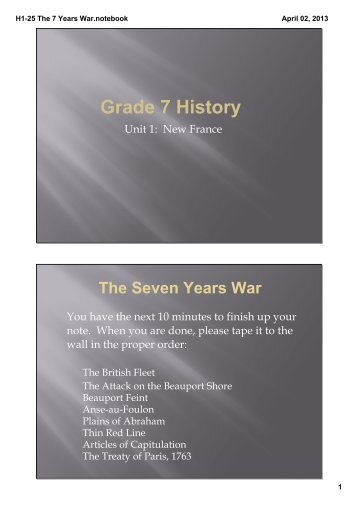 H1-25 The 7 Years War.notebook