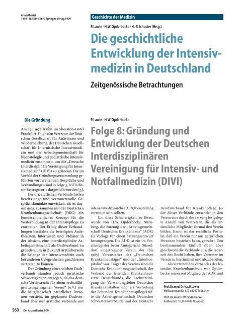 Die geschichtliche Entwicklung der Intensiv- medizin in Deutschland