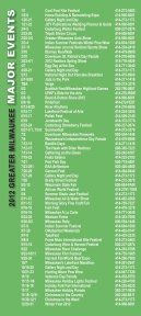 CALENDAR OF EVENTS/DINING & NIGHTLIFE ... - Visit Milwaukee - Page 2