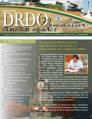 Vol. 29, Issue 09, September 2009 - DRDO