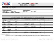 Title I Schoolwide Type III Plan 2009-2010 to 2013-2014