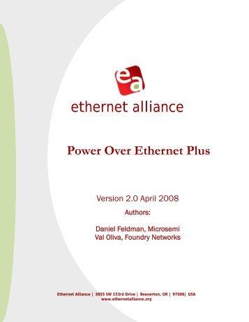 Power Over Ethernet Plus - Ethernet Alliance