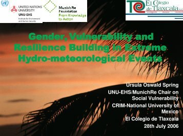 Gender, Vulnerability and Vulnerability and Resilience Building in ...