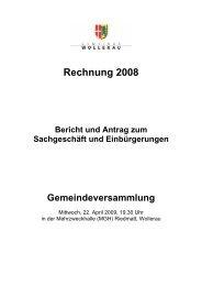 Geschäftsbericht 2008 - Gemeinde Wollerau