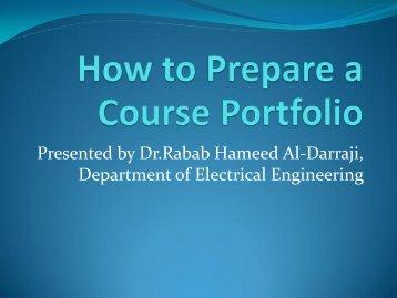 How to Prepare a Course Portfolio
