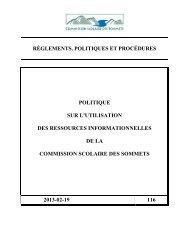Ressources informationnelles - Commission Scolaire des Sommets