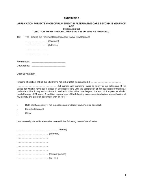 Annexure C Application For Extension Of Placement In Alternative