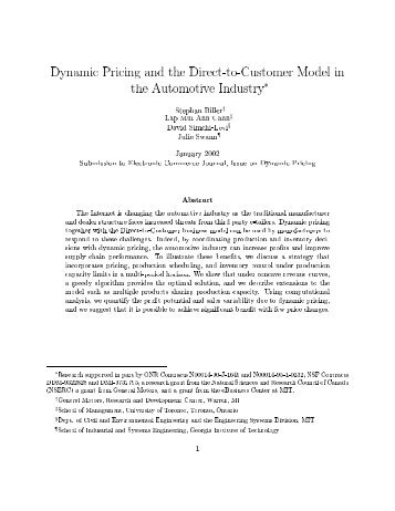 Dynamic Pricing and the Direct-to-Customer Model in the ...