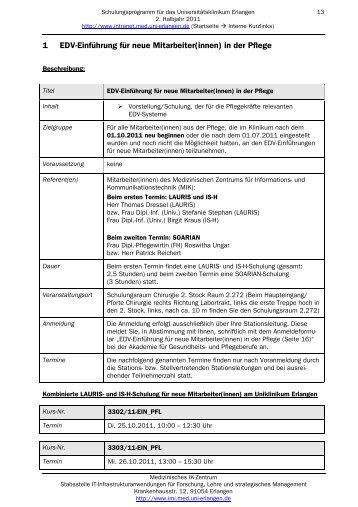 1 EDV-Einführung für neue Mitarbeiter(innen) in der Pflege