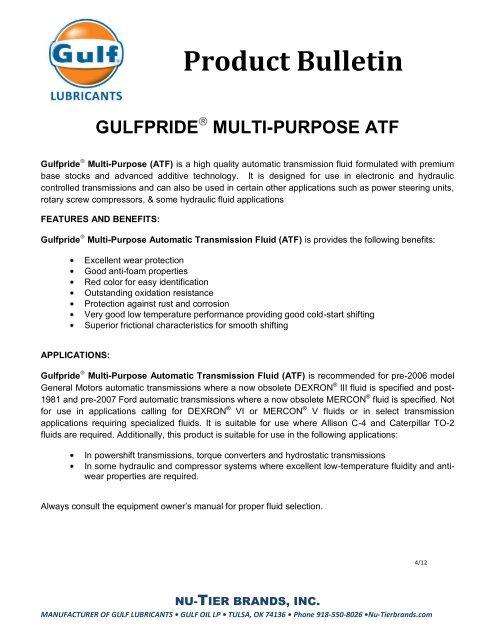 Gulfpride® Multi-Purpose ATF - Gulf Lubricants