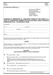 domanda di ammissione al concorso pubblico per esami a n. 3 posti ...