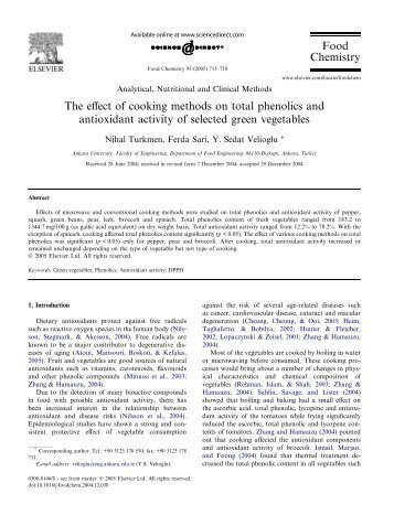 The effect of cooking methods on total phenolics and antioxidant ...