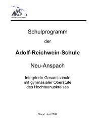 Schulprogramm der ARS - Adolf Reichwein Schule
