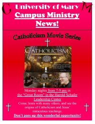 Campus Ministry News! - University of Mary