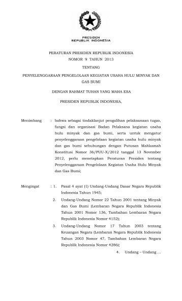 peraturan presiden republik indonesia nomor 9 tahun 2013 tentang ...