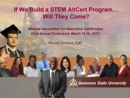If We Build a STEM AltCert Program… - National Association for ...