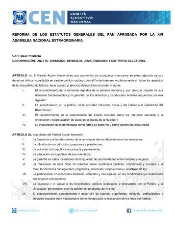 Estatutos – XVI Asamblea Nacional - Partido Acción Nacional
