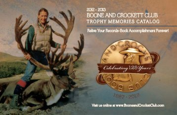 Boone and CroCkett CluB trophy MeMories Catalog
