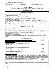 APERTURA DI CREDITO IN CONTO CORRENTE PER - Unicredit