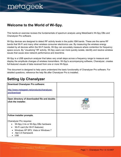 Welcome to the World of Wi-Spy  Setting Up Chanalyzer - MetaGeek