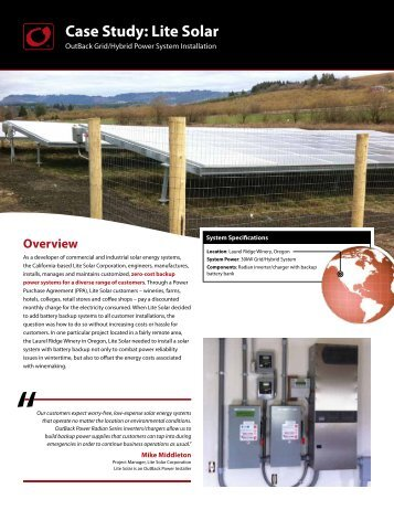Case Study: Lite Solar - OutBack Power Systems