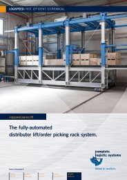 The fully-automated distributor lift/order picking rack system.