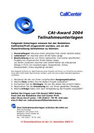 CAt-Award 2004 Teilnahmeunterlagen - CallCenter PROFI
