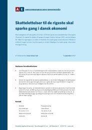 Skattelettelser til de rigeste skal sparke gang i dansk økonomi
