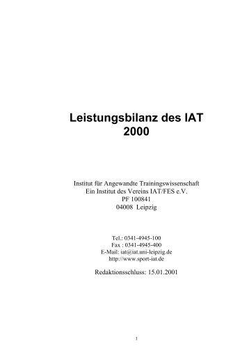 Vorwort - Institut für Angewandte Trainingswissenschaft Leipzig